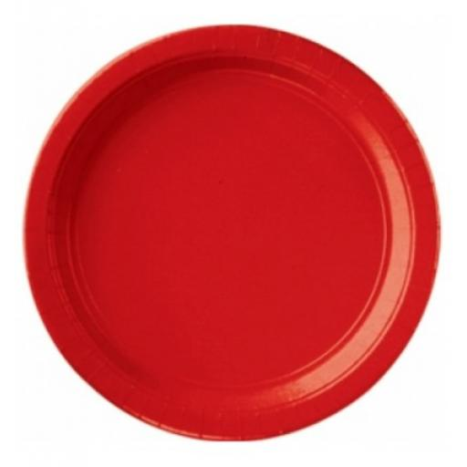 8 Paper Party Plates Apple Red 9 inch