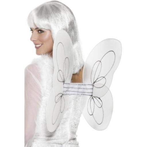 Angel Glitter Wings, White and Silver 50x30 cm