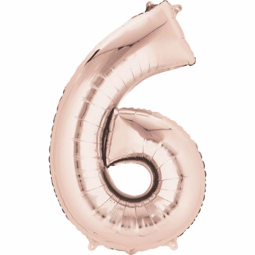 "Rose Gold Number 6 SuperShape Foil Balloons 22""/55cm w x 35""/88cm"