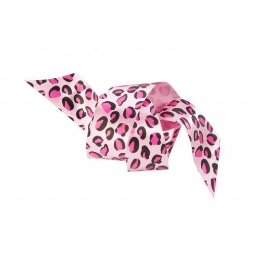 Satin Ribbon Pink Leopard Print 25mm