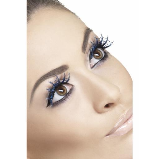 Fever Eyelashes Blue Glitter Spiderweb