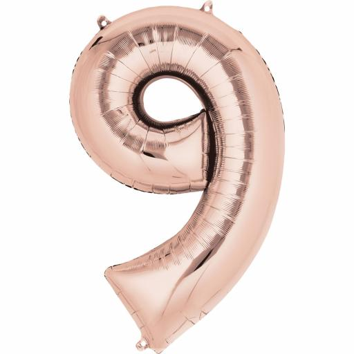 "Rose Gold Number 9 SuperShape Foil Balloons 25""/63cm w x 34""/86cm"