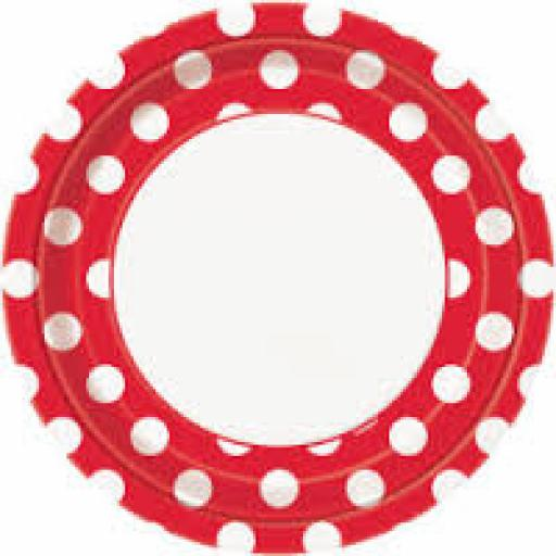 Round Plates 8.5 inch 8ct Ruby Red Dots