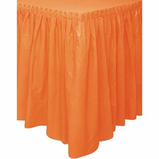 Plastic Orange Table Skirt 73cm x 4.26m