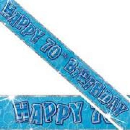 Blue Prizmatic H 70th Birthday Banner 3.6M
