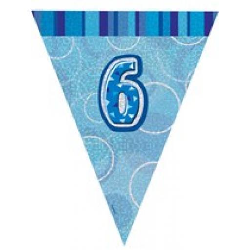 Blue Glitz Flag Banner 6th Birthday 9Ft Long