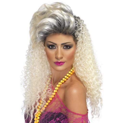 80s Bottle Blond Wig Curly with Quiff