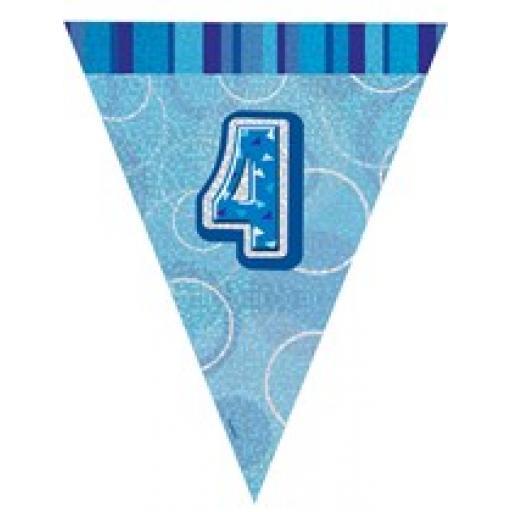 Blue Glitz Flag Banner 4th Birthday 9Ft Long