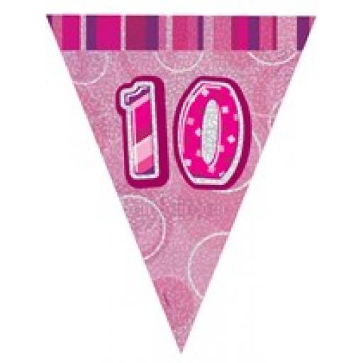 Pink Glitz Flag Banner 10th Birthday 9Ft Long