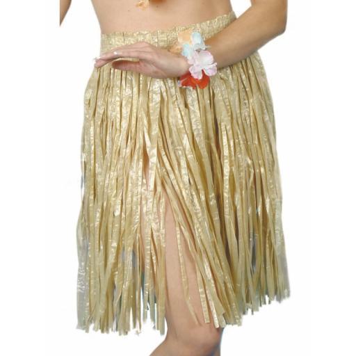 Hawaiian Hula Skirt, Yellow, with Elasticated Waist, 56cm/22 inches