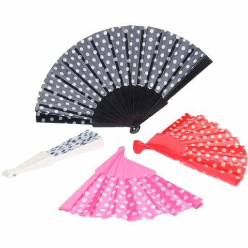 Polka Dot Spanish Fan 4 assorted colours