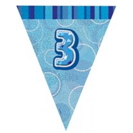 Blue Glitz Flag Banner 3rd Birthday 9Ft Long