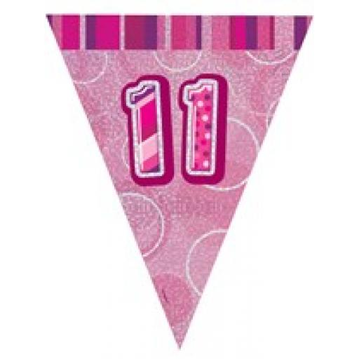 Pink Glitz Flag Banner 11th Birthday 9Ft Long