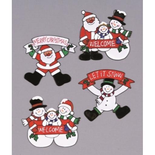 Christmas Window Sticker Assorted Character 16cm