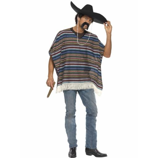 The Wildwest Authentic Looking Poncho Blue
