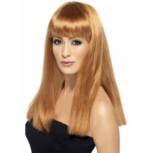 Glamourama Wig Auburn Long Straight with Fringe