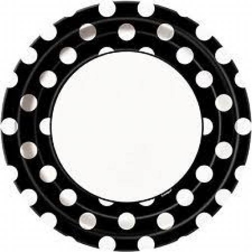 Round Plates 8.5 inch 8ct Midnight Black Dots