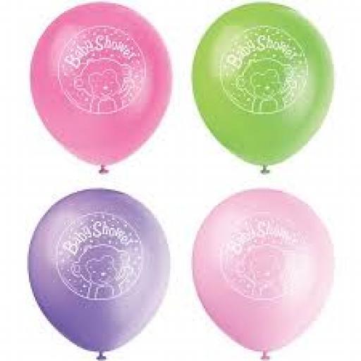 Baby Shower Girl Monkey Latex 11 inch Balloons 8ct