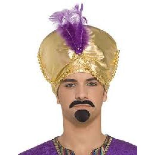Sultan Selim Hat Gold & Purple Feather & Beads