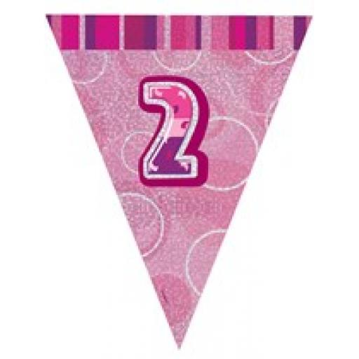 Pink Glitz Flag Banner 2nd Birthday 9Ft Long