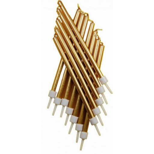 Tall Tapered Candles Gold 12ct with Holder