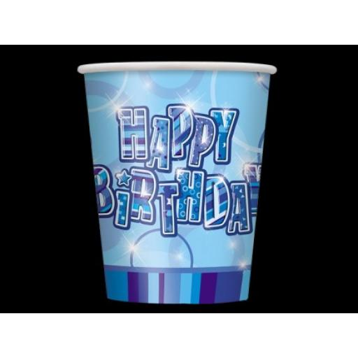 8 Glitz Blue Happy Birthday Party Paper Cups 9oz