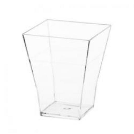 Mini Ware 2 Oz Plastic Square Cup Clear 12ct