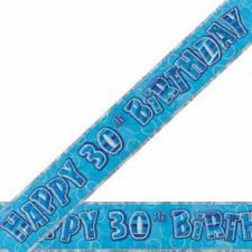 Blue Prizmatic H 30th Birthday Banner 3.6M