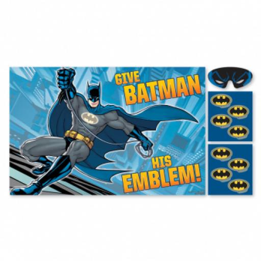 Batman Party Game Poster Stickers & Blindfold