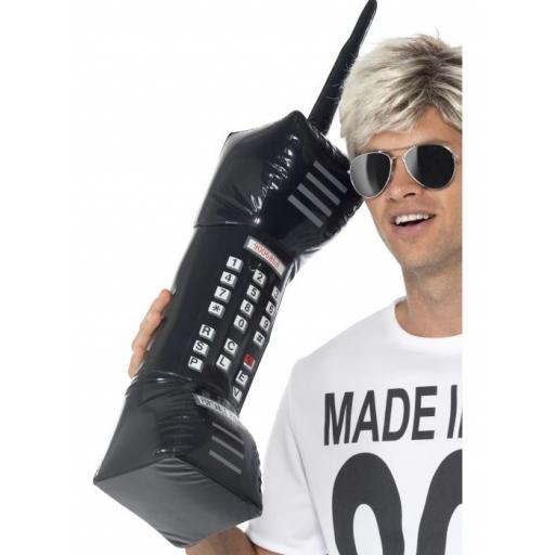 Inflatable Retro Mobile Phone, Black, 76cm / 30in