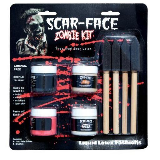 Scar Face Zombie Kit 4 Paint Colors 4 Brushes