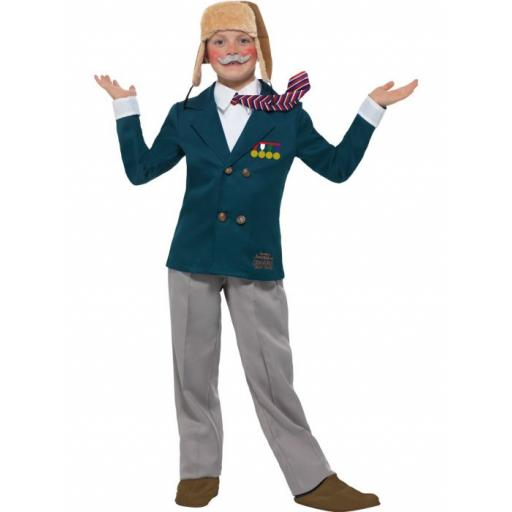 David Walliams Deluxe Grandpa's Great Escape, Blue, with Jacket & Mock Shirt with Tie, Trousers, Flying Hat & Moustache Medium Age 7-9