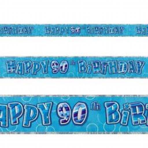 Blue Prizmatic H 90th Birthday Banner 3.6M