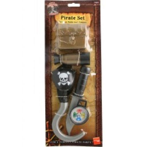 Pirate Set Telescope Patch Hook Compass Knife & Tr