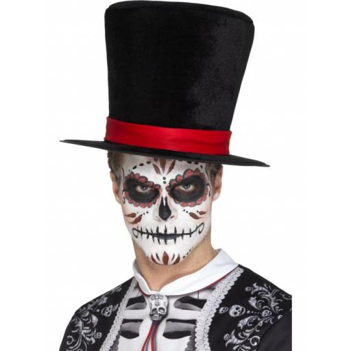 Day of the Dead Top Hat Black