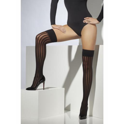 Fever Sheer Hold Ups Vertical Stripes Black