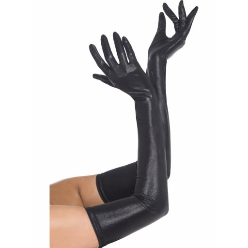 Fever Long High Shine Wet Look Black Gloves