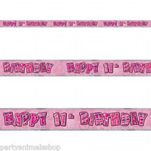 Happy 11th Birthday Pink Holographic Banner 2.7m