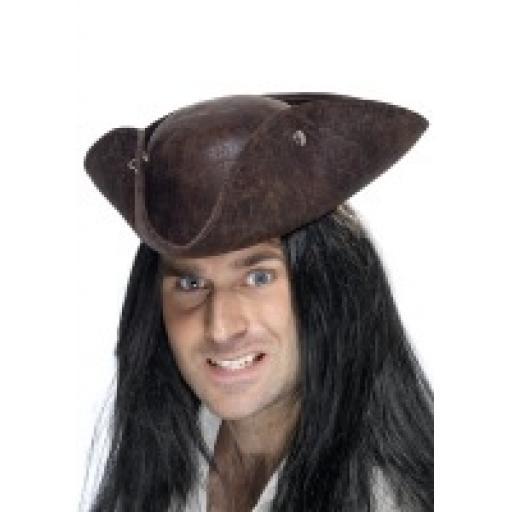 Pirate Tricorn Hat Broken Leather Look