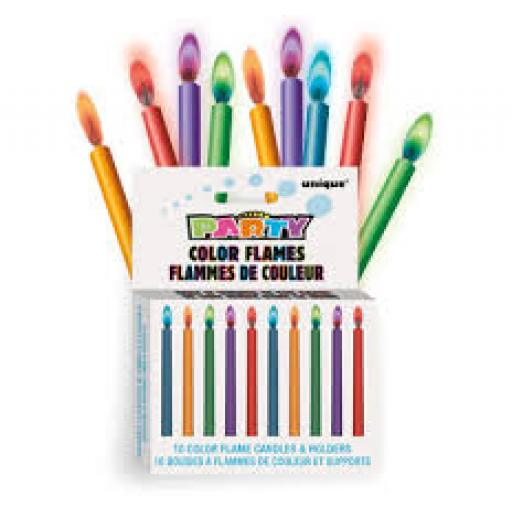 Party 10 Colour Flames Candles & Holders