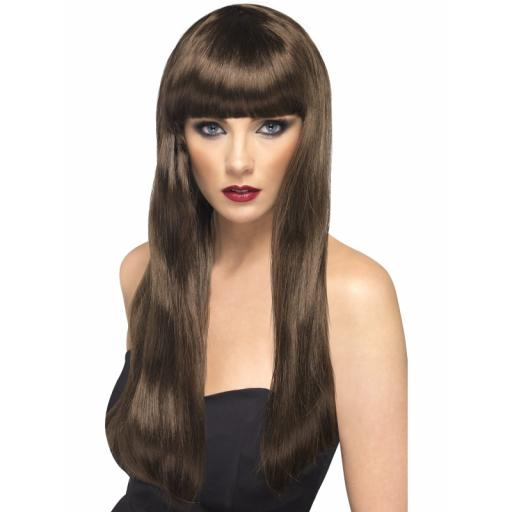 Beauty Brown Wig Long Straight With Fringe