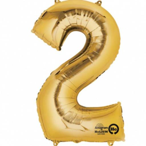 34 inch Number 2 Gold Super Shape Foil Balloon