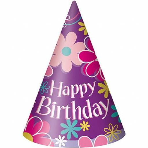 Birthday Blossom Paper Cone Party Hats, Pack Of 8