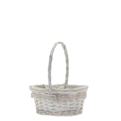 Oval Victoria Basket w/handle 24x17cm white
