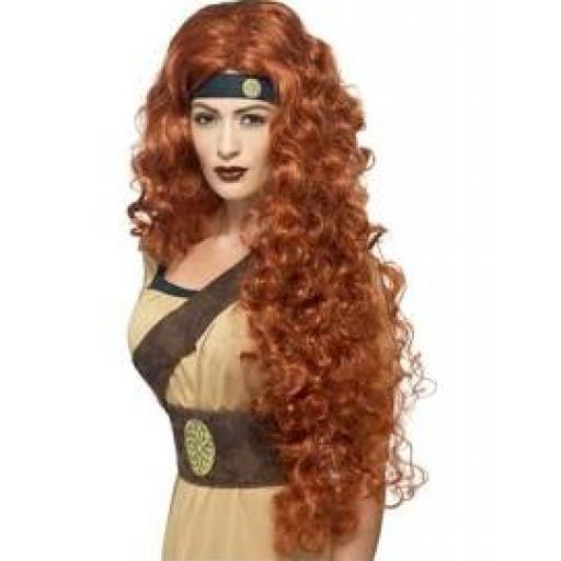 Medieval Warrior Queen Wig Auburn