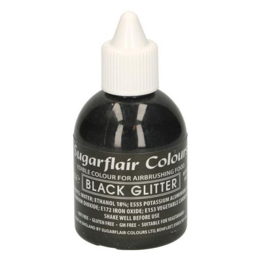 Sugarflair Colours Black Glitter - Edible Glitter Airbrush Liquid 60ml