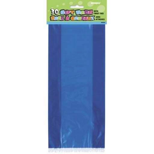 Gift Bags Plastic Royal Blue 30pcs