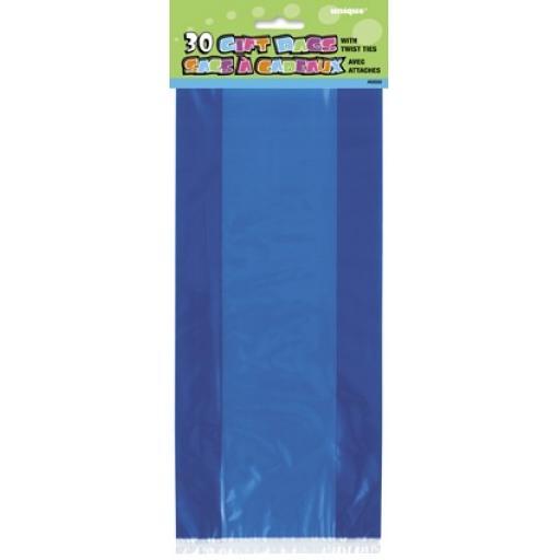Gift Bags Plastic Royal Blue 30pcs