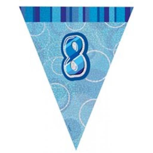 Blue Glitz Flag Banner 8th Birthday 9Ft Long