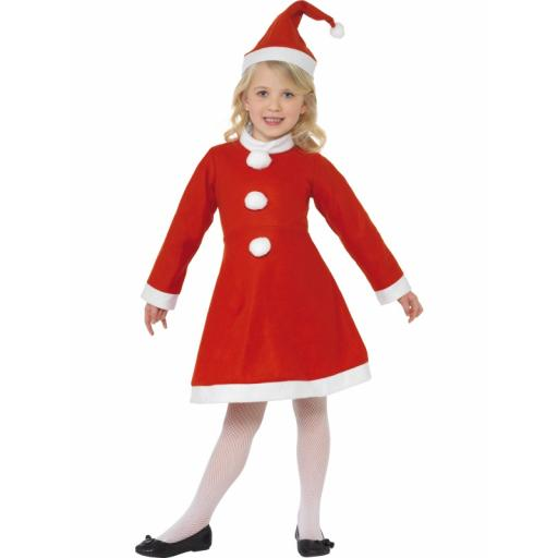Santa Girl Costume with Dress and Hat